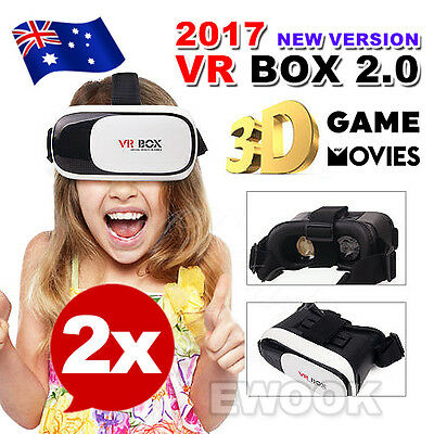 2X 2017 Headset VR BOX Virtual Reality Glasses 3D for Samsung Iphone 6s 7 Plus