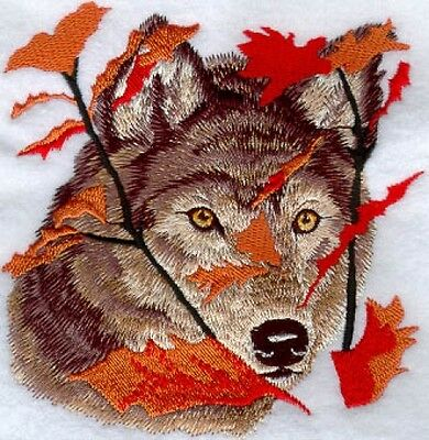 Embroidered Long-Sleeved T-Shirt - Autumn Wolf M1236 Sizes S - XXL