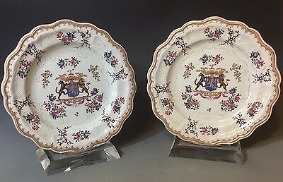 ANTIQUE 19th Cen. SAMSON CHINESE EXPORT STYLE PORCELAIN ARMORIAL PLATES French