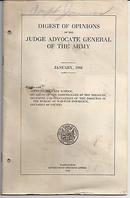 1918 Digest of Opinions JUDGE ADVOCATE GENERAL OF THE ARMY