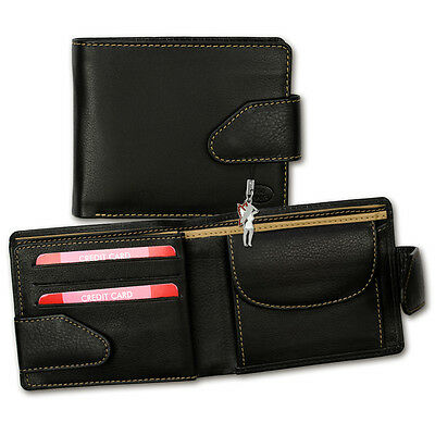 Leather Wallet black/tan Men's Wallet Purse Old River OPD10