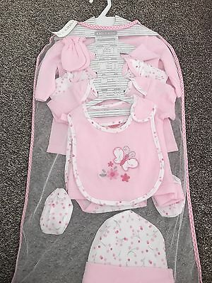 NEW Baby Girls 8 Piece Outfit Set Butterfly Flowers 0-3 Months