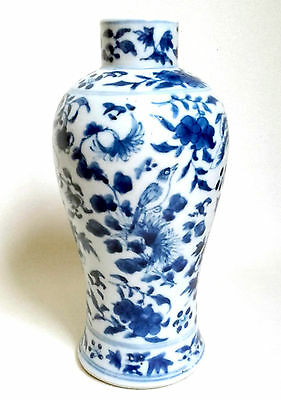 ANTIQUE CHINESE 18th/19thC KANGXI Meiping VASE Blue & White BIRDS & BUTTERFLIES