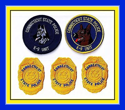 Lot of (5) Assorted CONNECTICUT STATE POLICE Patches 1903 First & Finest RARE!!!