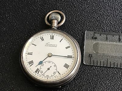 Antique Sterling Silver Pocket Watch For Parts Repair
