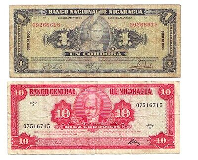 Lot of 2 Nicaragua Banknotes, 1960 and 1962