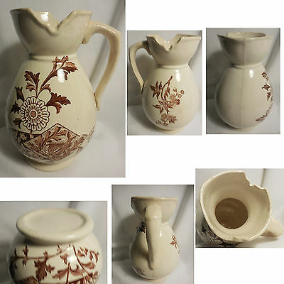 Vintage Unusual Brown Transferware Pottery Pitcher 3 Spouts - Repaired Handle