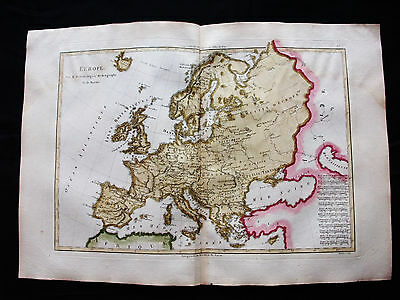 1787 BONNE/DESMAREST - rare map of EUROPE, EUROPEAN EMPIRE, ITALY GREECE BELGIUM