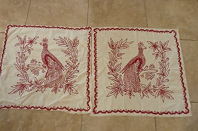 Pair Antique Vintage Embroidered PEACOCK RED WORK Lay Over Pillow Sham Cover