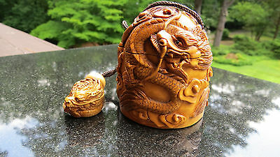 Japanese Boxwood Dragon Inro Set Signed Ojime Nesuke