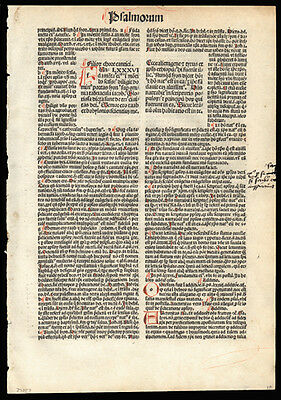Incunable Koberger 1493 Bible Leaf Psalm 86 & 87 Nuremberg Hand-Colored Initials