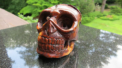 Hand Carved Skull wood netsuke rosewood carving sculpture