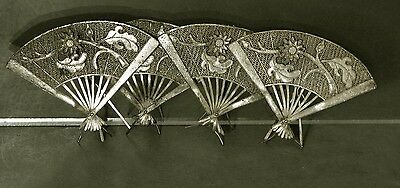 Chinese Export Silver Menu Holders          Filigree Fans       (4)