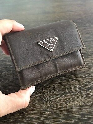 Prada Brown Leather And Nylon Coin Purse Small Wallet