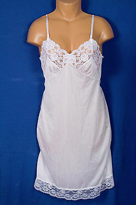 "No Tags on White Nylon Full Slip w Lots of Lace Size 38"" Bust"