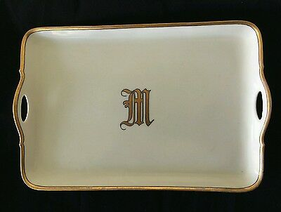 Vintage Antique Large Porcelain Vanity Tray Platter Gold Trim Monogrammed M