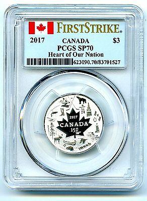2017 $3 Canada 150Th Silver Pcgs Sp70 Heart Of Our Nation First Strike Very Rare
