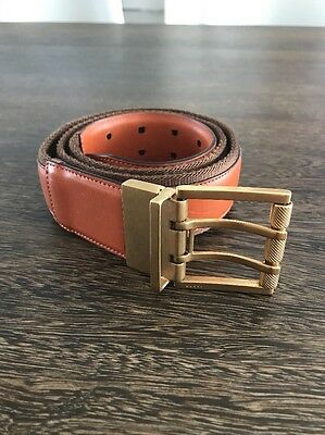 GUCCI Brown Leather And Fabric Brass Toned Reversible Buckle Belt Size 85/34 Uni