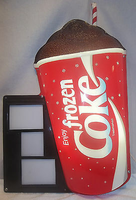 LARGE Frozen Coke Coca Cola Light Up Figural Cup Store Display Price Sign EXLNT