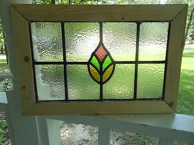 MA10-295 Lovely Older Leaded Stain Glass Window F/England Reframed