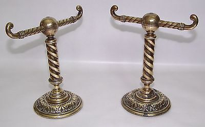 Genuine Antique Victorian Brass Fire Iron Rests Andirons Vintage Fireplace