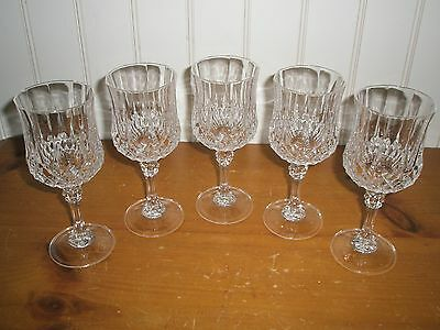 Lot of 5 Cristal D'Arques Longchamp 24% Lead Crystal Footed Wine Glasses - Nice