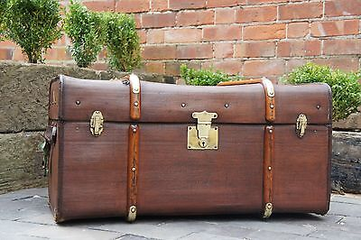 Beautiful Tall Antique Wood Banded Brass Bound Cabin Trunk Coffee Table