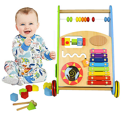 Wooden Toy Activity Fun Baby Walker Push Pull Toddler Walking Steady Playstation