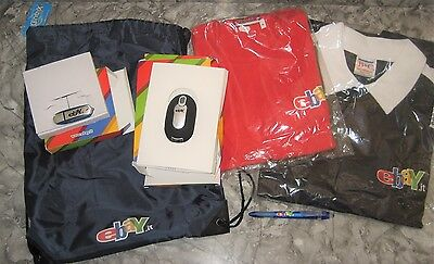 2004 eBay Italy Goodie Bag-2 Shirts, Notebooks, Mouse, USB Flash Drive--NEW