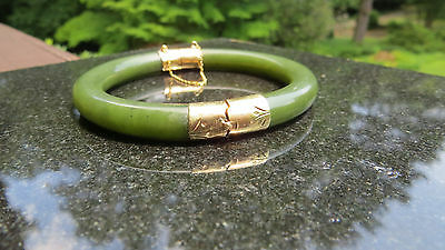 Chinese Green Jade and Gold Bracelet