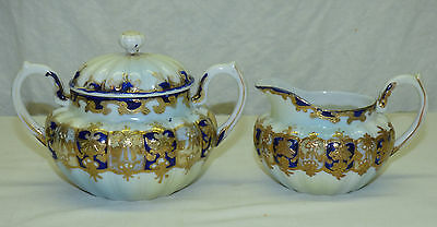 Antique Royal Nippon Cobalt Blue & Gold Porcelain Creamer & Sugar w/ Lid Set
