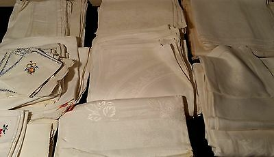 Huge Mixed LOT of Antique Linens, Embroidered Silk, Napkins, Table Items, 20 lbs