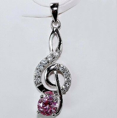 1CT Pink Sapphire & White Topaz 925 Solid Genuine Sterling Silver Pendant, T2-3