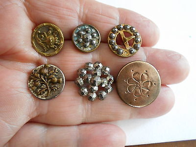 Antique/vintage 6 Early Metal Buttons #51