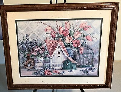 Homco Home Interiors Picture  Barbara Mock Colorful Flowers Birdhouses Nest Eggs