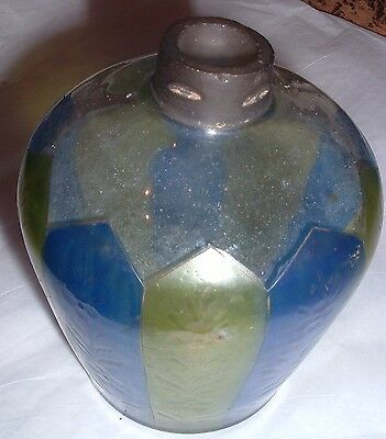 Antique Unusual Art Glass Oil Lamp Base  19th century 1800s / Blue Green