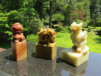 Chinese Shoushan Stone Dragon Foo Dog Qilin Seal Stamp Chop Carving Sculpture