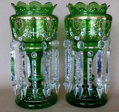 "Huge Antique Pair of Lustres 15"" h. ,Rare Green Color ...Mantle... Glass"