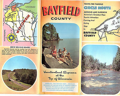 Bayfield County Wisconsin Vintage Travel Brochure Color Photos County Map