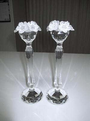 "Pair Of Vintage Swarovski 7 1/2"" Anemone Flower Candlesticks"