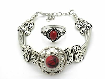 New Natural Stone Bracelet & Ring Set SZ 8 Women Silver Plated