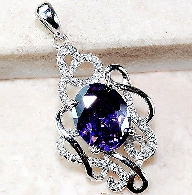 3CT Amethyst & White Topaz 925 Solid Genuine Sterling Silver Pendant, T1-7