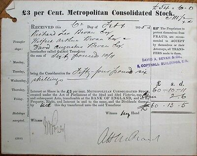 Bank of England 1895 Metropolitan Consolidated Stock Transfer Certificate