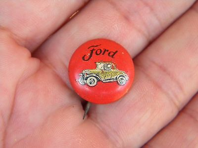 Vintage FORD Advertising Tin Litho Pinback - EARLY FORD AUTOMOBILE