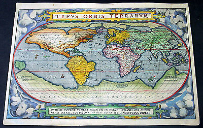 1588 Ortelius Antique World Map - Typus Orbis Terrarum - Rarest Edition, Ort 2:3