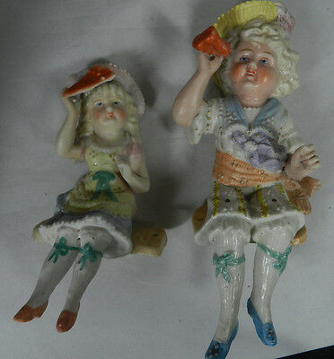 Antique Bisque Figurines  Boy Girl on Swing Swingers  Germany 1880-1900