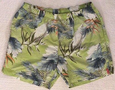 Men's TOMMY BAHAMA RELAX Green Floral Palm Swim Trunks Board Shorts - L