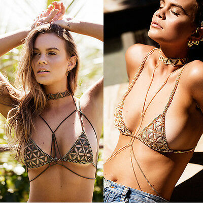 Women Metal Tone Bikini Bra Chain Body Harness Beach Belly Crop Top Sandy Beach