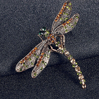 New Jewelry Women's Vintage Noble Dragonfly Crystal Scarf Pin Brooches Tasteful