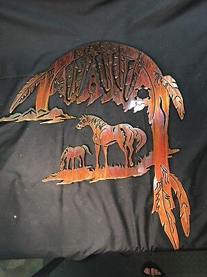 "WESTERN HORSE WALL ART METAL LASER CUT OUT LARGE 24""x22"" BEAUTIFUL."